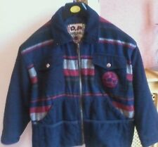 BOYS BLUE WOOL LINED COAT DODIPETTO WEAR D.P. ORIGINAL SIZE 8 YEARS