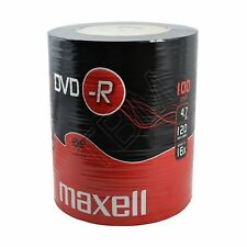 100 Maxell DVD-R 4.7GB (16x) 120Min DVDR In Shrink Wrap 4.7gb Gold Top Video