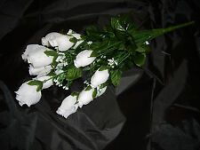 108 SILK FLOWERS WHITE ROSES X 18 STEMS (6) BUSH LOT