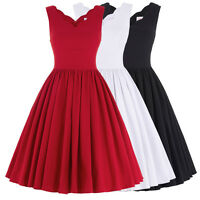 Women V Neck Vintage 1950's 60's Evening Party Swing Skater Cocktail TEA Dress