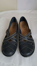 Clarks bendables women black leather upper balance man made loafers size 7N