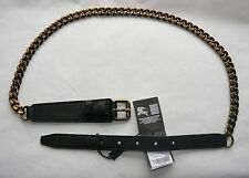Burberry Black Leather & Chain Belt Made in Italy Size 36-90 $395 BWNT Authentic