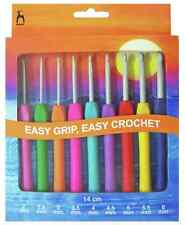 Pony Easy Grip Flat Finger Crochet Hook Set 9 Hooks sizes 2mm - 6mm - P56810