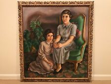 Antique WPA Style Large Portrait Oil Painting of 2 Women Girls Signed - 1950