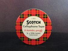 """Vintage Scotch Cellophane Tape Tin 3/4 x 1296"""" Transparent - Excellent Condition"""