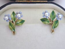 VTG KREMENTZ Gold Overlay Enameled Blue Forget Me Not Screwback Earrings Pearls