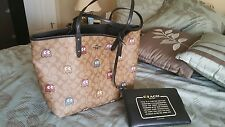 COACH PAC-MAN Ghost Signature Reverse Tote Bag with Makeup Pouch F56649