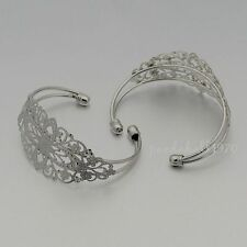 1 x  Antique Silver Filigree Cuff Bracelet Blank Crafts Jewellery Making