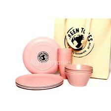 Green Tones Picnic & Table Dining Set - Pink - Bamboo Fibre Plates/Bowls/Cups
