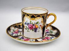Aynsley Can Shape Demitasse Cup & Saucer Fruit & Flowers Gold & Cobalt Blue