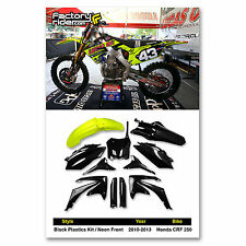2009-2012 Honda CRF 450 Black Plastics Kit / Neon Front Fender From Enjoy Mfg