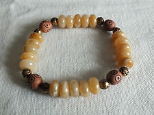"Beautiful Stretch Bracelet Amber Gold Tone Brown Carved Beads 3/8"" Wide CUTE"