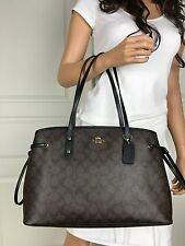 NWT COACH BROWN BLACK SIGNATURE PVC LEATHER CARRYALL TOTE SHOULDER BAG PURSE