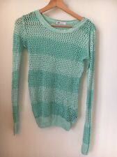 H&m green loose knit 14 ans pull rayé < T10710