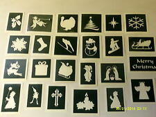 40 x Christmas theme stencils for glitter tattoos / airbrush / cakes  santa snow