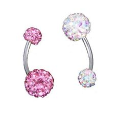 2 Ball Crystal RhInestone Navel Belly Ring Bar Barbell ZH