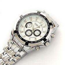 Mens White Dial Stainless Steel Band Water Proof Sport Quartz Wrist Watch Gift