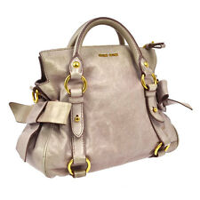 Authentic MIUMIU Logos Hand Tote Bag Pink Gold Leather Vintage Turkey F01389