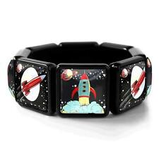 Retro Spaceship Toy Rocket Ship Sci-fi Fantasy Black Bangle Glass Charm Bracelet