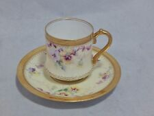Antique Dresden Demitasse Cup and Saucer Set Hand Painted with Gilding