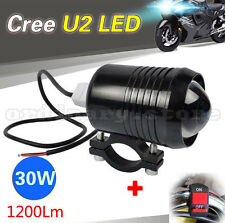 CREE 30W U2 LED Driving Headlight Fog Lamp Spot Light For All Motorcycle +Switch