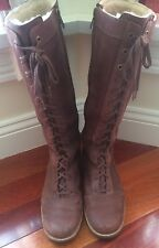 Ugg Brock Brown Leather Sherpa Lined Lace Up Riding Boots Size 7
