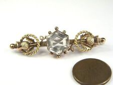 ANTIQUE ENGLISH VICTORIAN 9K ROSE GOLD ROCK CRYSTAL THISTLE BAR BROOCH c1890