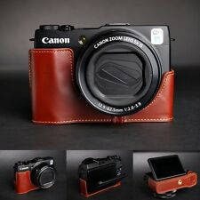 Genuine real Leather Half Camera Case bag cover for Canon G1X Mark II M2 Brown