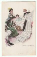 "Harrison Fisher Signed Postcard Glamorous Lady ""The Trousseau"" R&N 187"