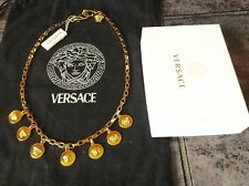 $2.500 Authentic Versace gold plated box chain necklace,medusa head 7 pendant