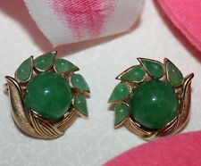 TRIFARI SIGNED JADE GRIPOIX JEWELS OF INDIA CLIP EARRINGS EXCELLENT!!!