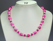 Bright pink / cerise glass bead & crystal necklace, silver stardust spacers 20""