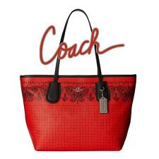 Coach Crossgrain Leather Taxi Zip Tote Bag Bandit Red/Silver hardware NWT 36357