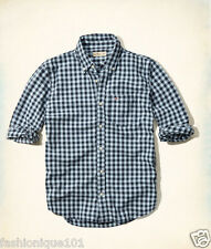 NWT HOLLISTER MENS NAVY & PLAID POPLIN CHECK SLIM FIT SHIRT SIZE LARGE