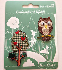 Embroidered appliqué iron on/sew on wise owl & tree patches (adhesive-backed)