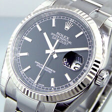 UNWORN ROLEX DATEJUST 116234 STEEL 36 mm OYSTER BRACELET BLACK STICK DIAL