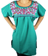TEAL PEASANT PUEBLA SILK EMBROIDERED MEXICAN BLOUSE TOP MEDIUM