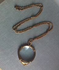 Vintage Magnifying Glass Loupe Reading Pendant Necklace Bow Detail Gold Plated