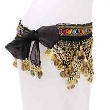 Hot ! Gold Coins Belly Dance Dancing Belt Hip Scarf with Many Beads Black