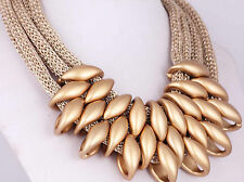 Fashion Bib Statement Chunky Ethnic pendant Gold Chain long Necklaces 77