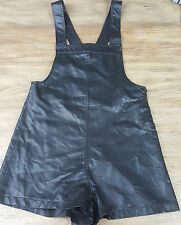 Forever21 size small faux leather pleather bib overalls shorts womens