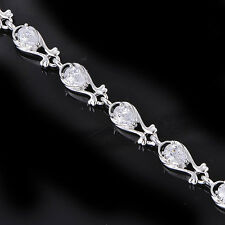 Womens lucky Silver plated Teardorp crystal Womens bracelet For friendship