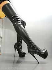 MORI PLATFORM OVERKNEE HEELS ITALY STIEFEL BOOTS STRETCH LEATHER BLACK NERO 44
