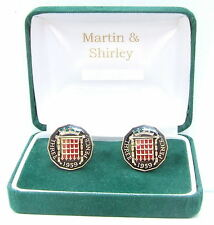 1959 Threepence cufflinks  real coins in Black & Gold