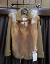 """Natural Canadian Red Fox 26"""" Jacket with Dark Gold Knit Sleeves - Size 8"""