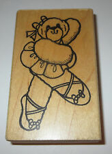 Ballerina Teddy Bear Rubber Stamp Tutu Ballet Daisy Kingdom Slippers Hair Bow
