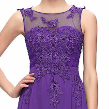 Long Chiffon Lace Evening Formal Party Ball Gown Prom Bridesmaid Dress Plus Size