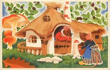 Vintage PC; Dutch Fairy Tale? Anthropomorphic Dressed Mice in Thatched Hut