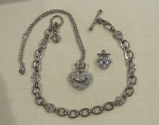 JUICY COUTURE Silvertone Pave Heart Crown Toggle Necklace Pendant Charm LOT of 3
