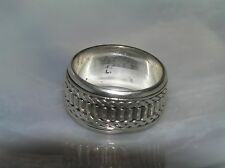 Estate 925 Marked Silver Spinner Band with Twist Braid & Column Worry Ring Size